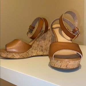 Cork brown leather wedges